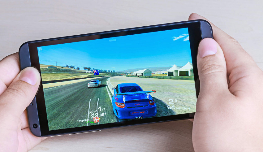 Man Playing Android Racing Game