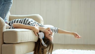 Girl Listening Music on Headphones