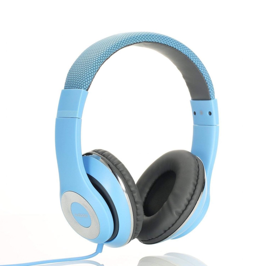 MAYERS AUSDOM Lightweight Over-Ear Wired HiFi Stereo Headphones with Built-in Mic Comfortable Leather Earphones- Blue