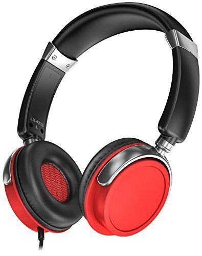 Sentey Wired Headphones Warp Pro Black/Red Rubber Painting LS-4421 Over-the-Ear with Detachable 3.5mm In-Line Microphone