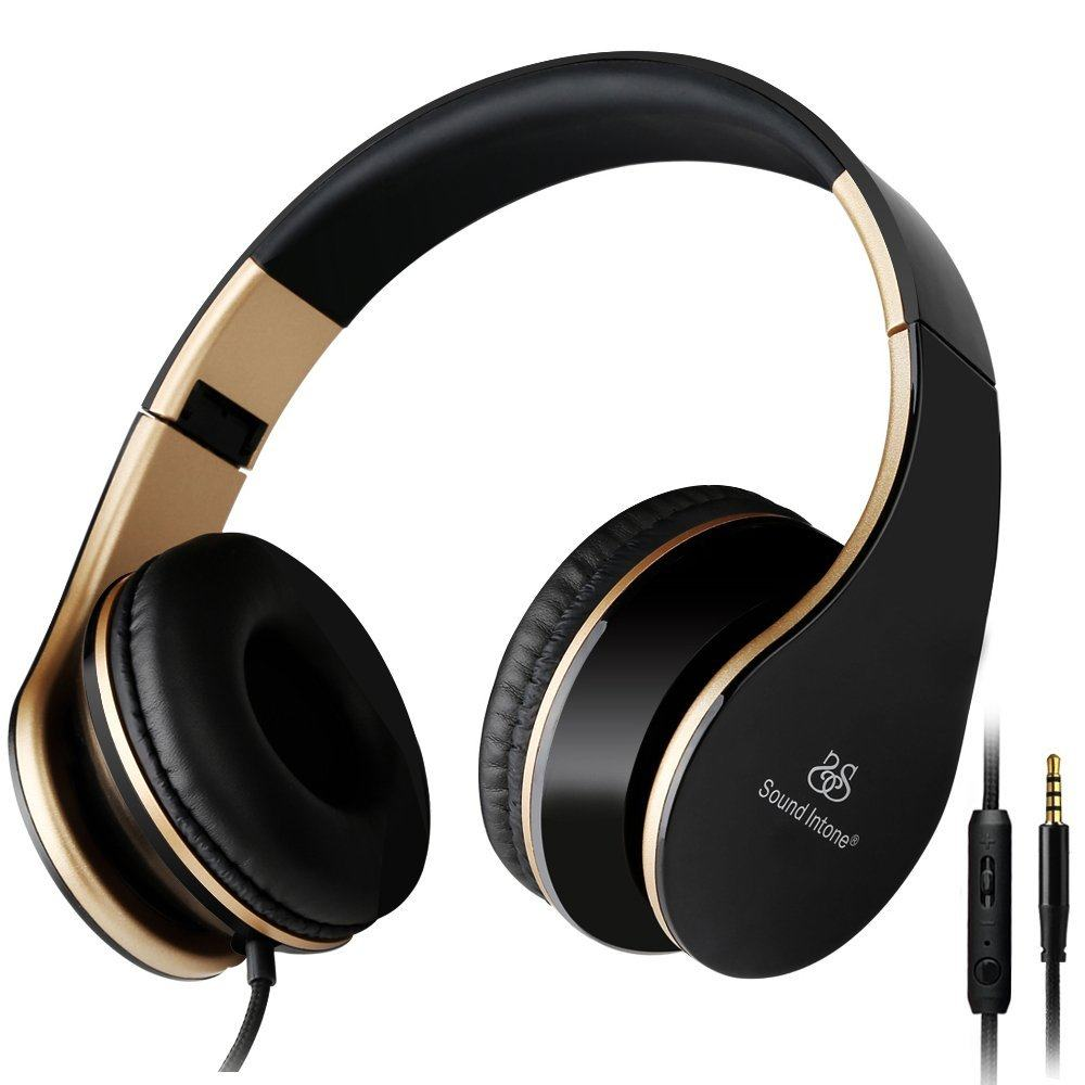 Sound Intone I65 Headphones with Microphone and Volume Control, Lightweight Foldable Headset for iPhone 6/6s/6 Plus/6s Plus, iPad/iPod, Android Device MP3/4 (Black/gold) ,