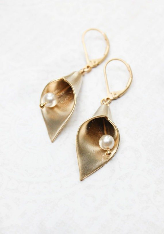 Gold Calla Lily Earrings