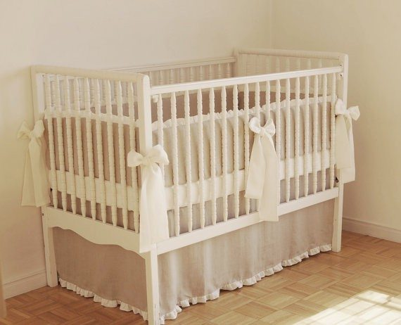 Linen Crib Skirt and Side Bumper