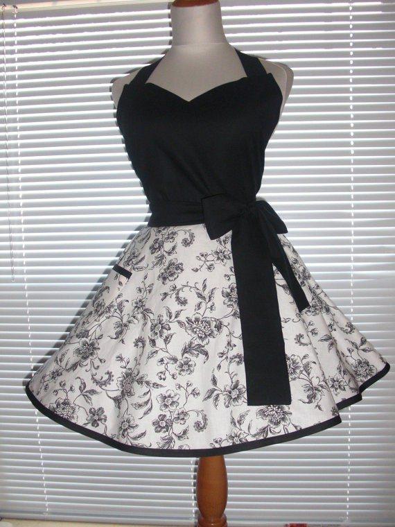 Little Black Apron with Circular Skirt