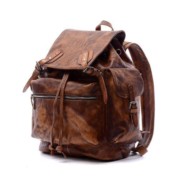 Men's Brown Vintage Genuine Leather Backpack