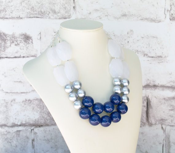 Navy Blue & Silver Statement Necklace