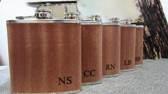 Personalised Wood Wrapped Flask