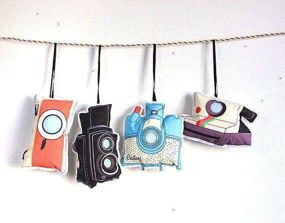 Set of Four Vintage Camera Ornaments