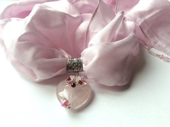 Silk Scarf with Jewelry Pendant
