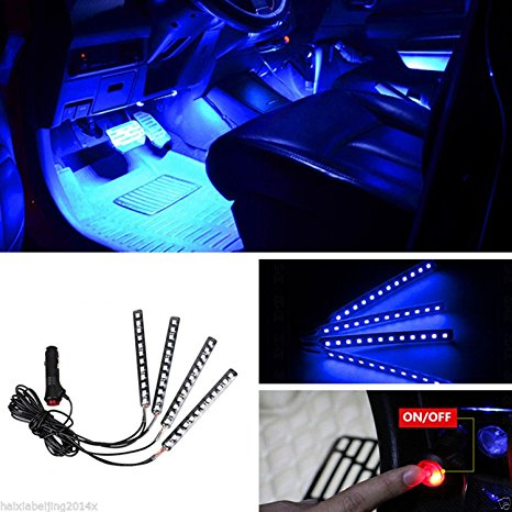 HDE 2x Neon Blue 15 LED Sound Activated Interior Car Dash Accent Light Strips